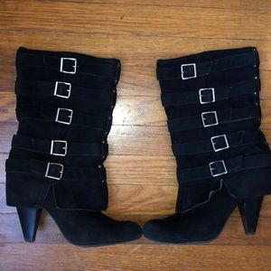 MIA Black Suede Heeled Boots